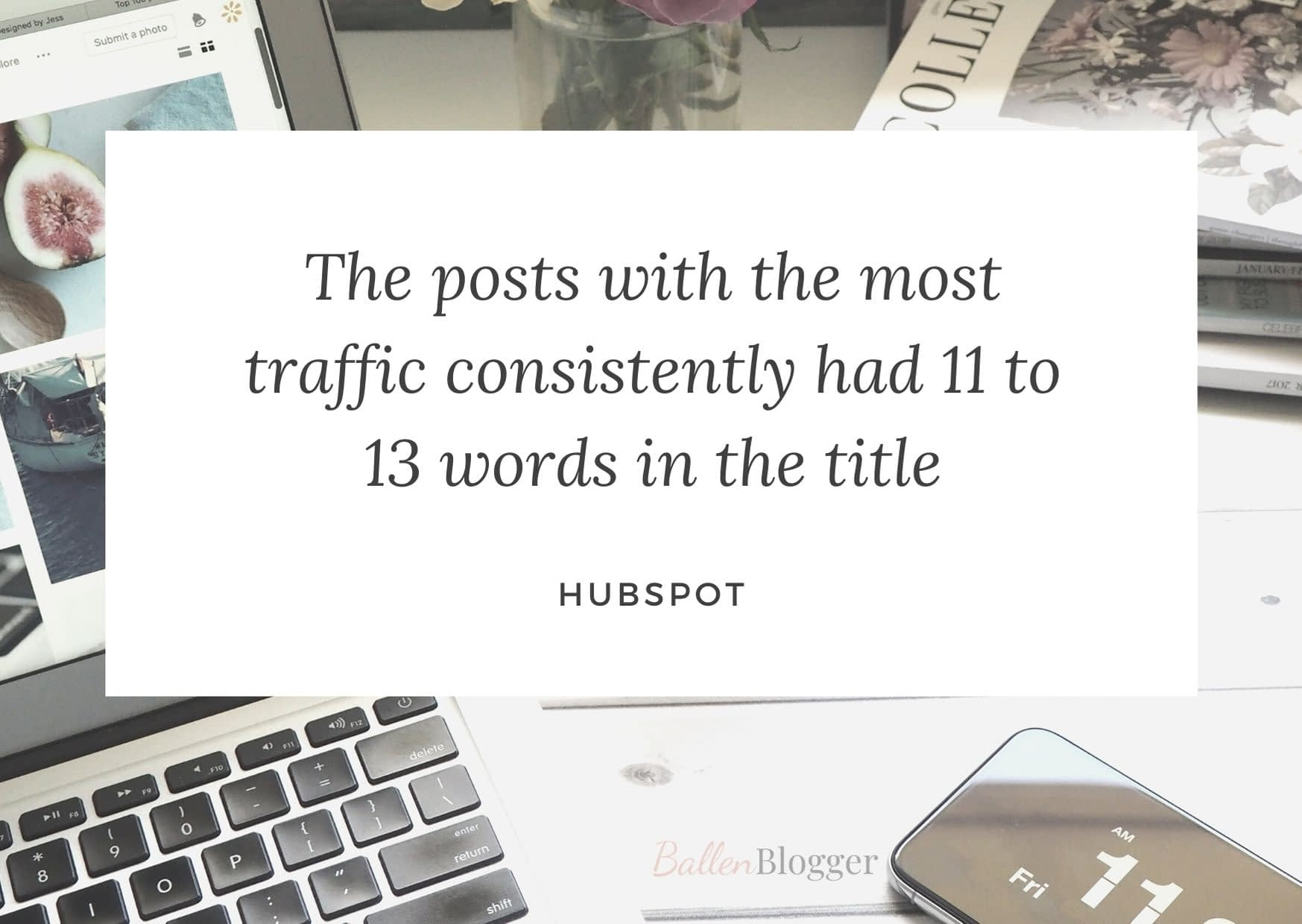 Hubspot says that in their study, they showed that the posts with the most traffic consistently had 11 to 13 words in the title.