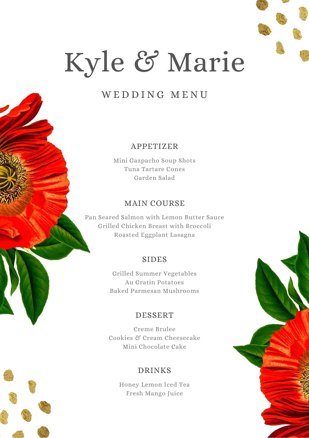 Canva offers wedding menus, featured modern wedding templates, wedding invitations, save the date cards and more