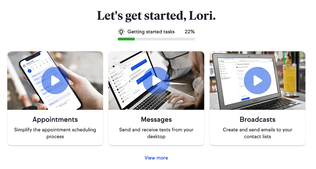 When you first log into KEAP, you'll see a getting started button with a light bulb icon. Click the icon to open the getting started page.