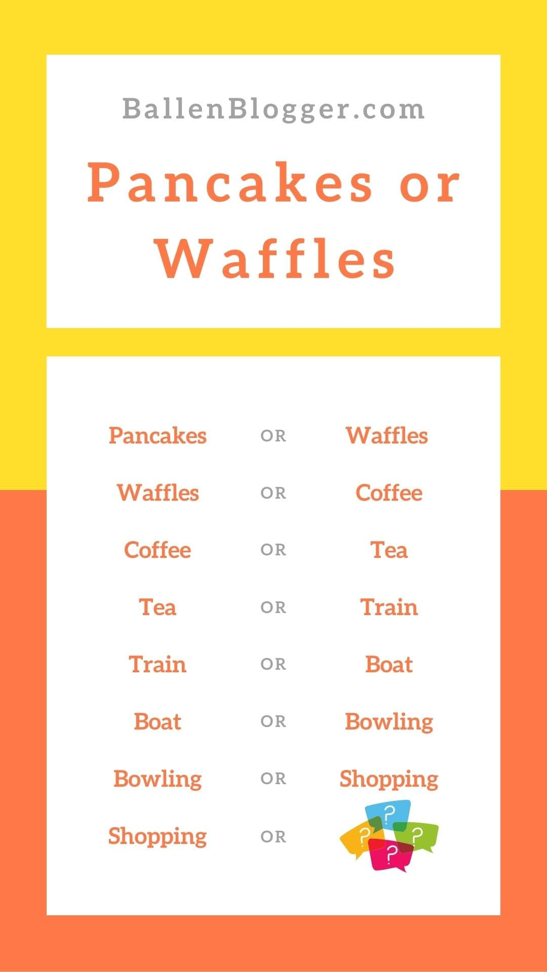 """Always great to get a friendly debate going; pancakes or Waffles game starts with a simple question of """"pancakes or waffles"""". The team discusses, debates, and then votes – with the winning choice moving on to the next bracket."""