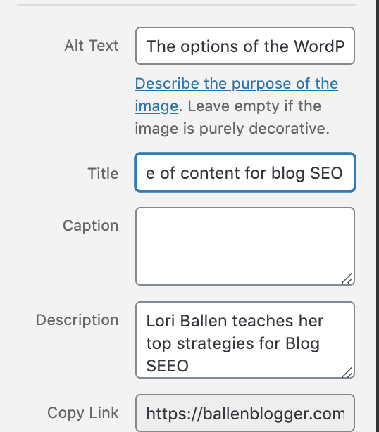 The options of the WordPress Editor are showing with an arrow pointing to the i which breaks down the longform content ideal for Blog SEO