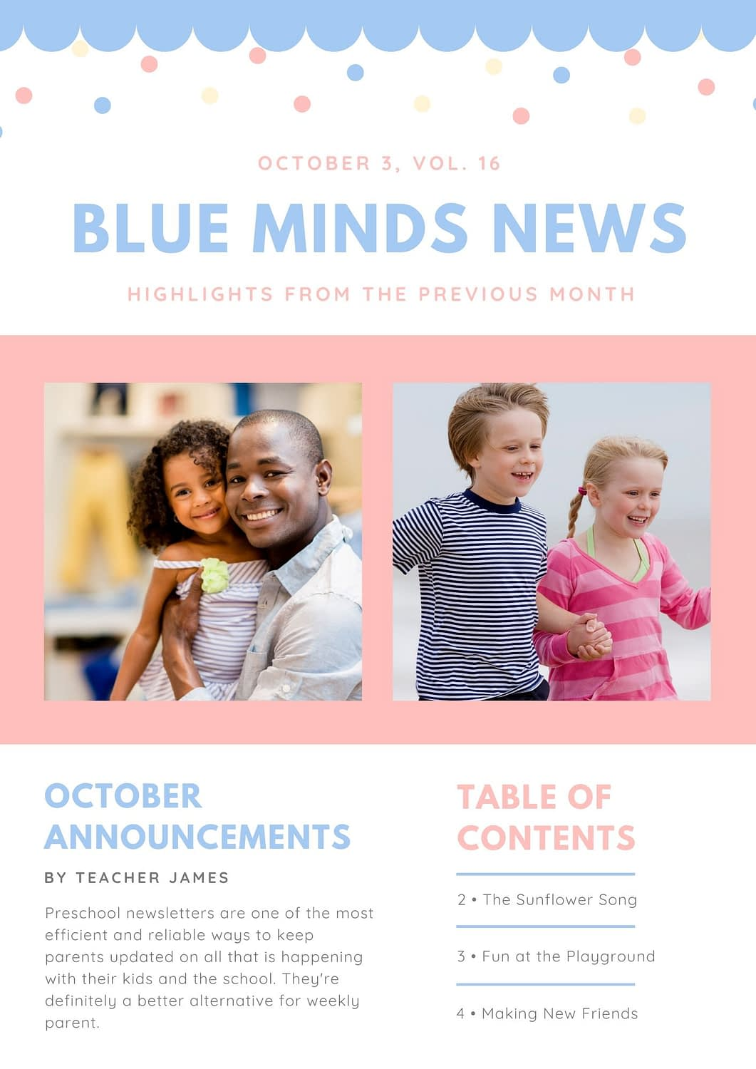Blue Pink Cute Confetti Preschool Newsletter template from Canva
