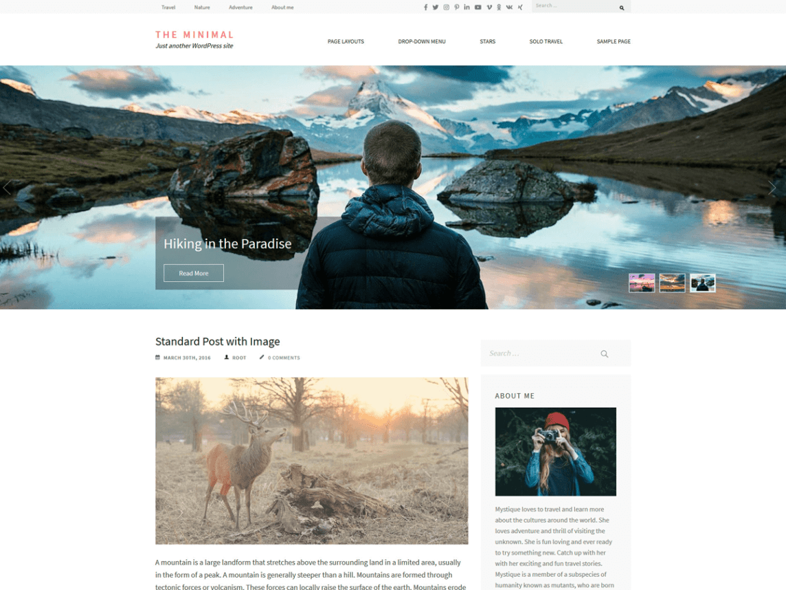 Finally, The Minimal is a free WordPress theme that has been designed by Rara Theme. It is a fresh, clean theme that certainly lives up to its name.