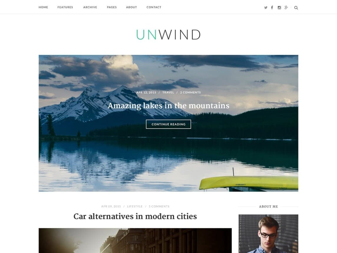 Unwind is another free, minimalist, straightforward, streamlined theme for WordPress that you may choose for your blogs.