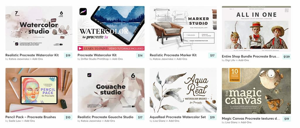 Creative Market has over 24,000 add-on files available from $2 to $1000. Add-On files on Creative Market are searchable by tool or category.