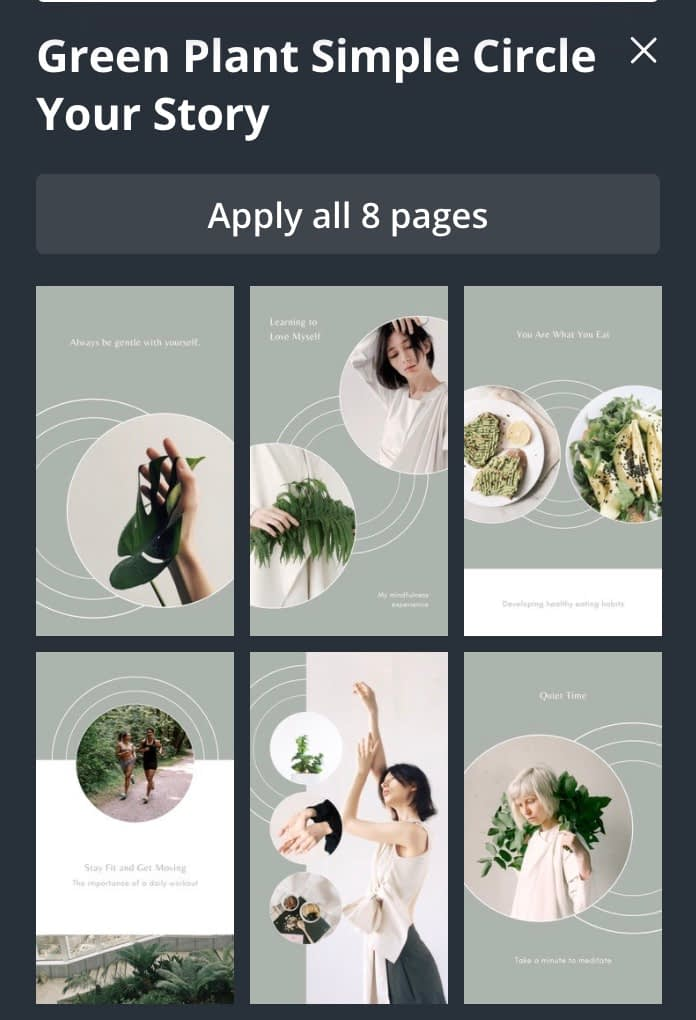 Sample Story Pin Templates on Canva