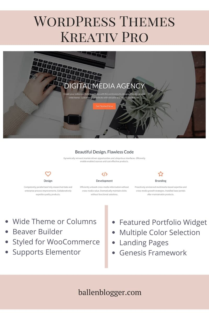 Here is how to install and set up the Kreativ Pro WordPress Theme. The Kreativ Pro child theme of the Genesis Framework for WordPress is a magazine-style, clean, WooCommerce styled design. It features the Genesis Portfolio Plugin for showcasing products, services or categories.