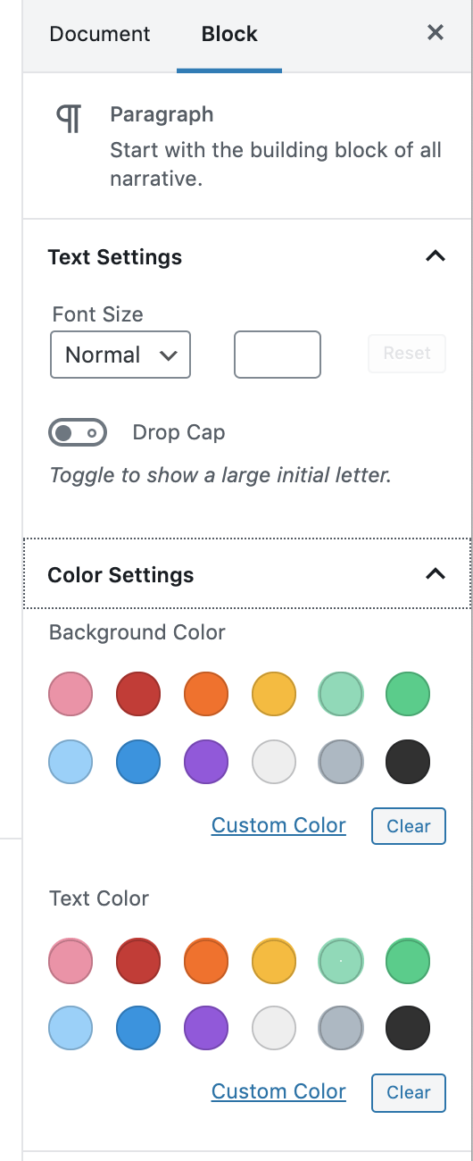 You can change the color of your text or the background of your text easily. On the right side of the editor, find the Color Settings. You may need to click the small arrow in the right corner to open.