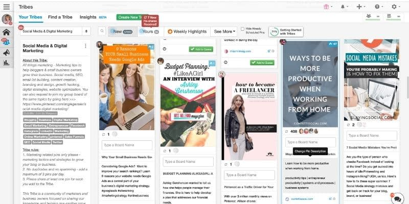 This tool allows you to encounter and grow with other marketers. Share your blog posts to the Tribe and if the Tribemates like the content; they will view and share it to their own Pinterest Boards for their audiences to see.