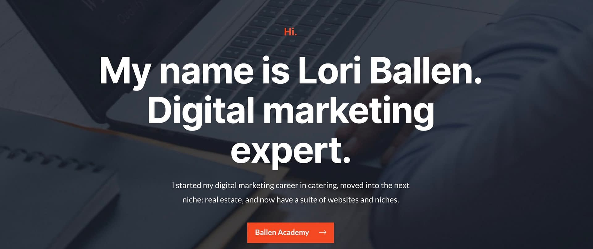 "A sample header from an elementor landing page says ""My name is Lori Ballen. Digital Marketing expert."