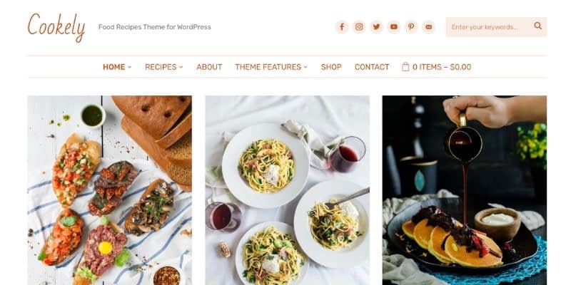Cookely is the next-level WordPress theme for your food blog. Simple, yet packed with complex features, it provides flexibility for organizing your recipes in a compact, functional, and stylish layout.