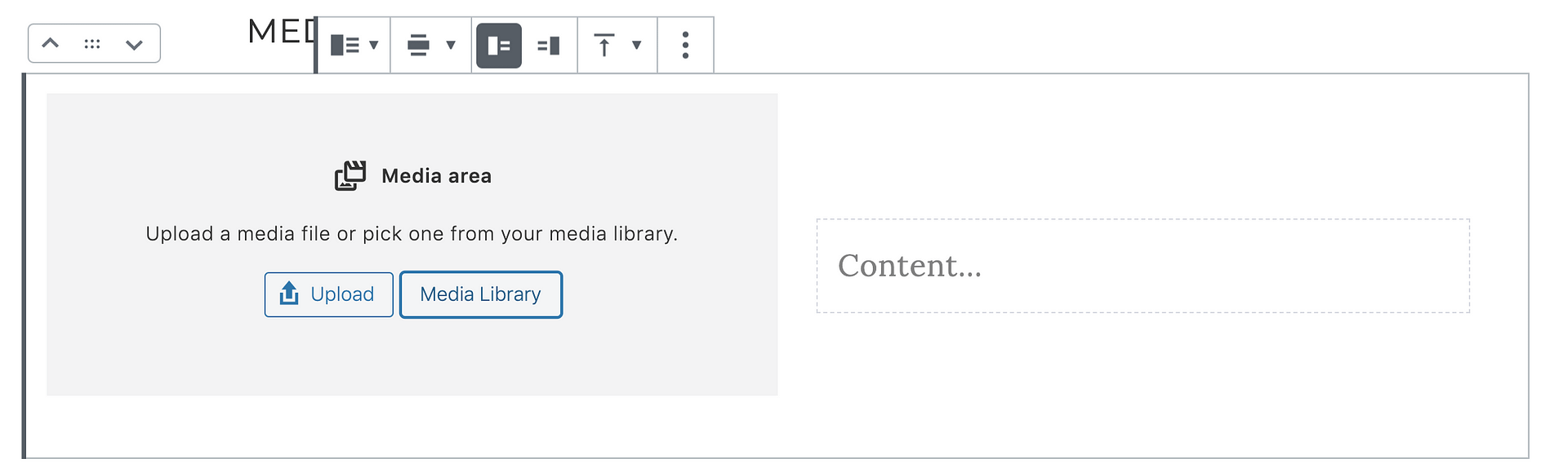 This is what the Media Text Block Looks like before you add the content.