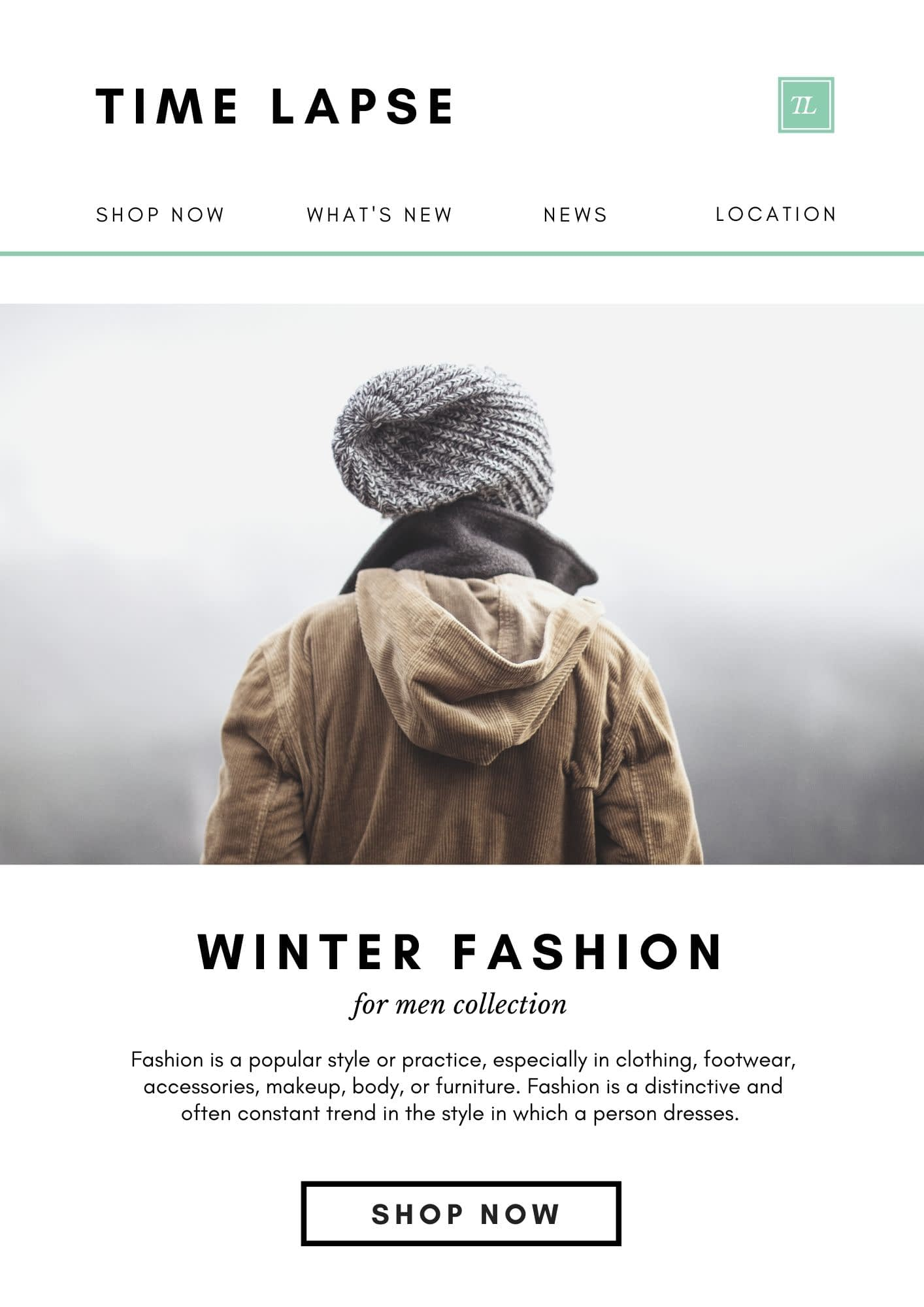 Winter Fashion is the email template showing with a Shop Now Button