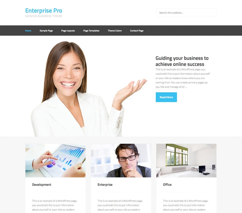 Enterprise Pro features an approachable enterprise theme. Give your business the rock-solid foundation needed to build your brand on the web.