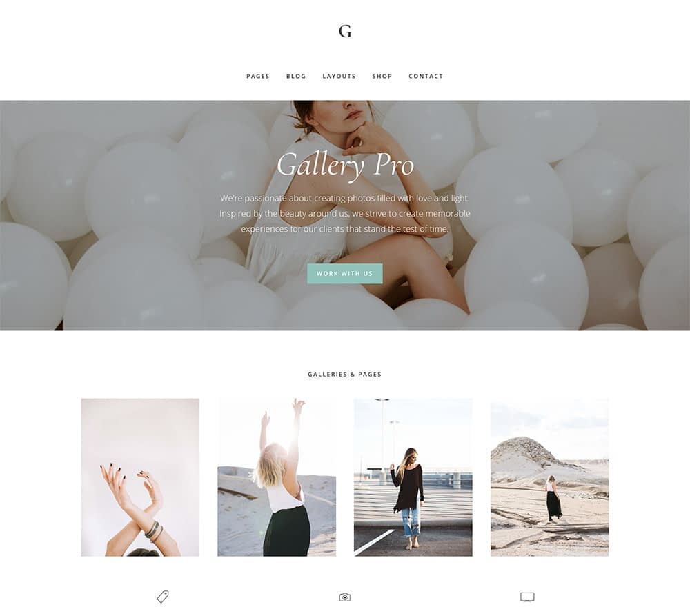 Gallery Pro is a posh yet minimalist theme. It offers a warm welcome that is streamlined and full of light. With a winning combination of full-stretch and gallery images as well as beautiful typography, this theme offers loads of page, layout, and customization options.