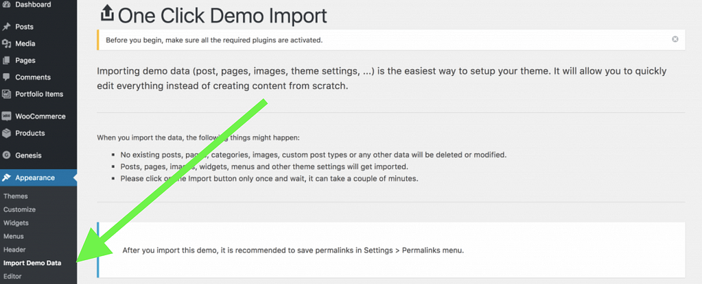 If you prefer to design from scratch, you can do that. If you import the demo content, it will literally bring everything over from the demo site and then you will change the information it contains to match your products and services. This is often preferred as don't have to worry about placing all of the widgets, footers, headers, and menus in the correct places. Find the Appearance link in the left column on your dashboard. Hover over it and find the IMPORT DEMO DATA link. Click it to import the data.