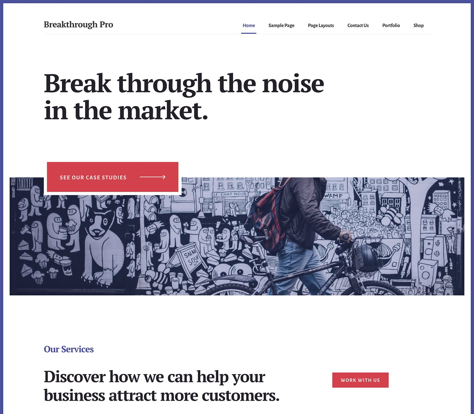 Breakthrough Pro is a popular theme for an advertising or marketing agency. It blends beautiful colors and minimal design. It's sleek and modern. Perfect for your breakthrough moment, this design helps you demonstrate your work and services.