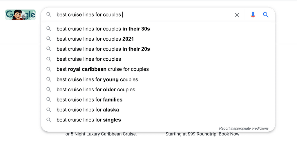Taking 'best cruise lines for couples', we now get this great list of subtopics we can include in a blog.
