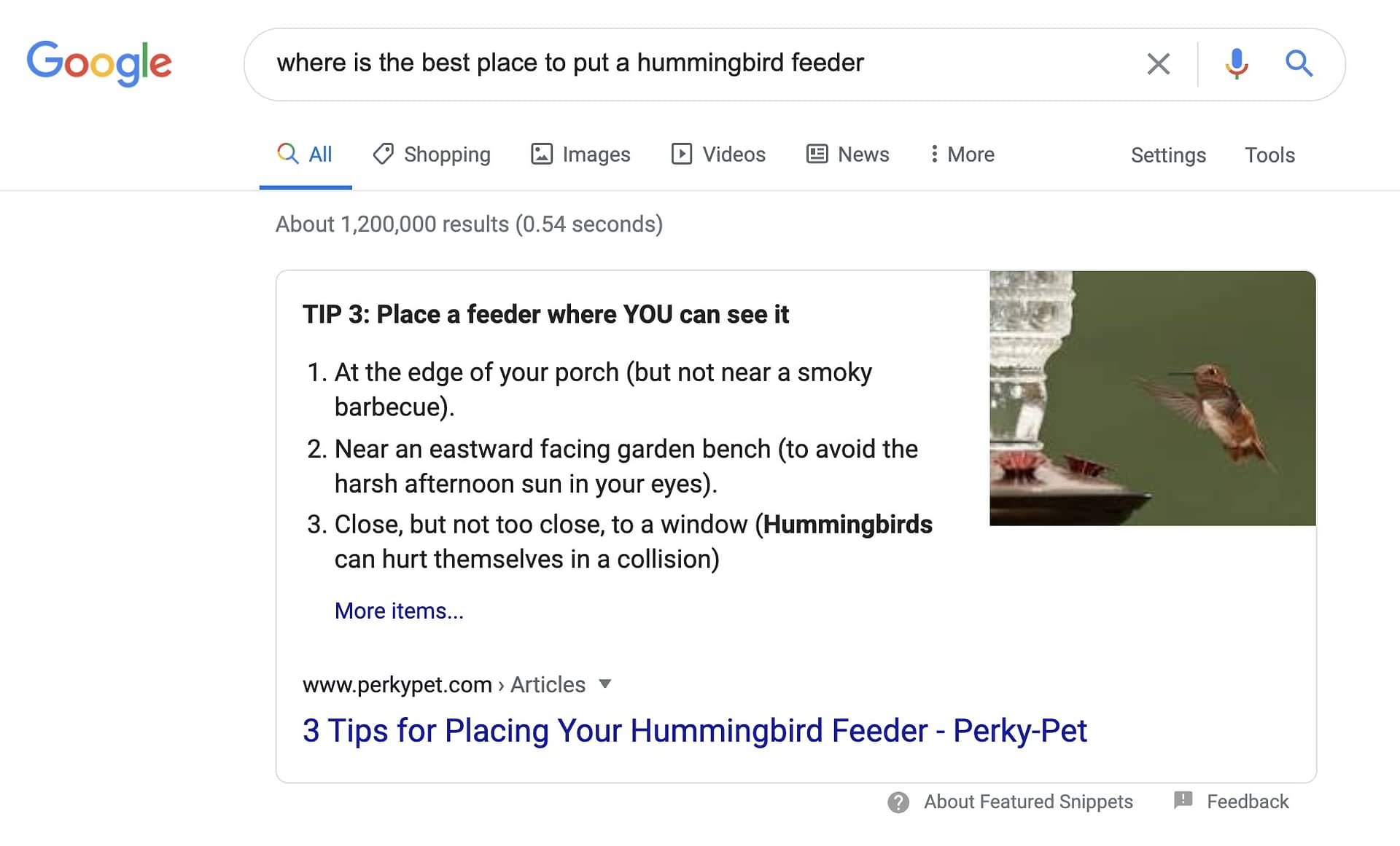 where is the best place to put a hummingbird feeder