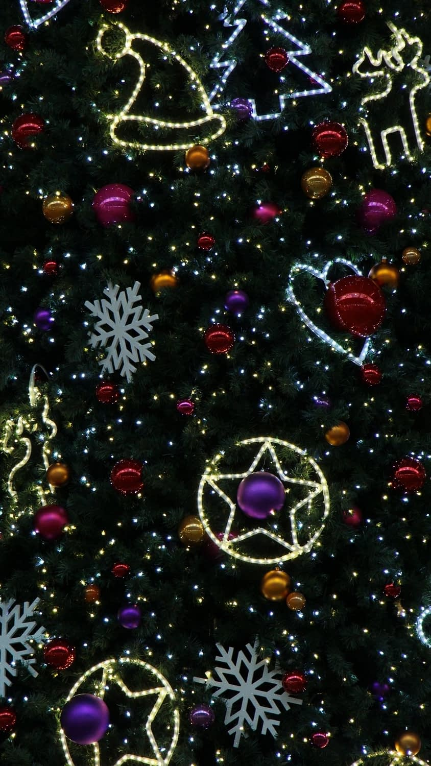 Cute Christmas iphone wallpaper with ornaments and stars