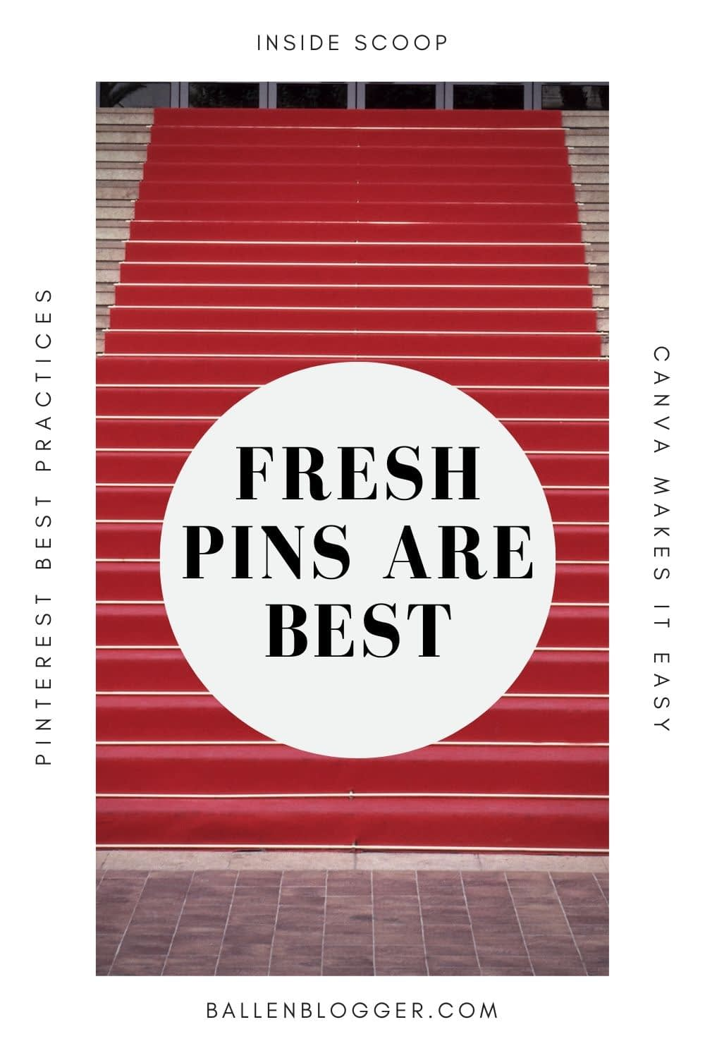 Along with fresh pins being good for the user experience, they are also preferred by Pinterest. Pinterest has an algorithm for ranking and distributing pins.