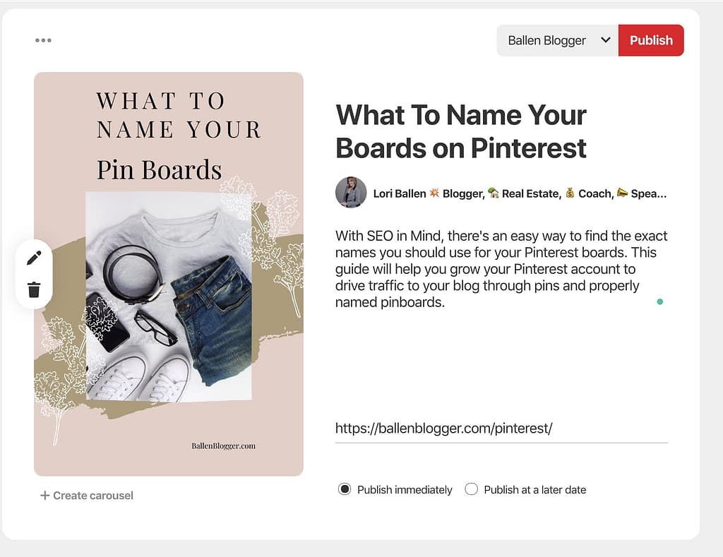 If you are considering keywords, you'll want to include a Keyword in the Title and in the description. Click on the Drag and Drop editor to upload a pin, or click Save from site to enter a URL that contains your pin.
