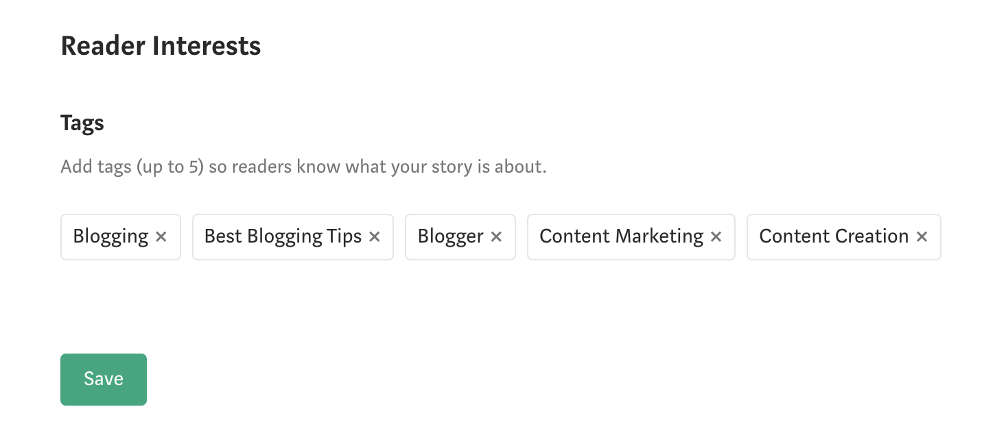 Add 5 tags related to your article topic than can help your article be discovered.