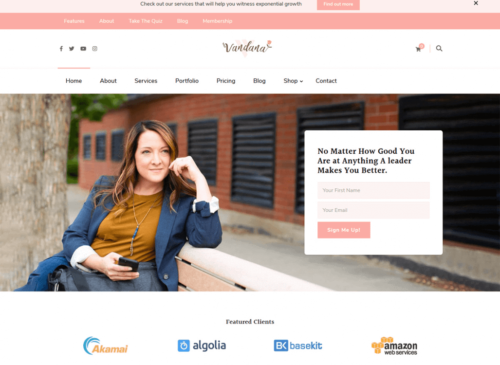 A feminine WordPress theme, Vandana is ideal for speakers, coaches, therapists, mentors, and entrepreneurs.  This WordPress design is sought out by influencers, lifestyle bloggers, digital marketing agencies, and more.