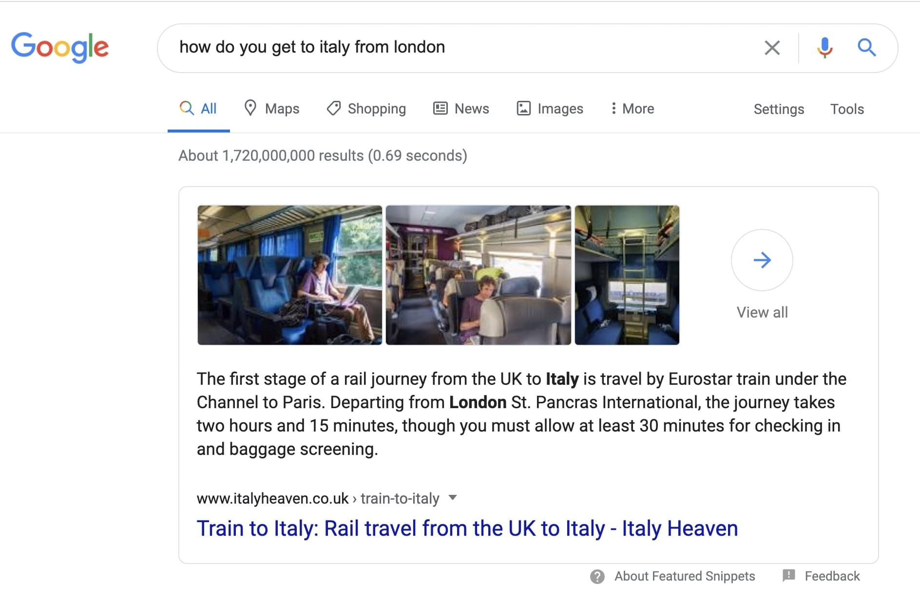 How do you get to italy from london is typed into a search engine and a featured snippet from a blog post appears with a showcase of images.