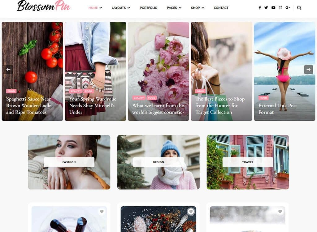 Many bloggers have taken to Pinterest to drive traffic to their website. Blossom Pin Pro meets the needs of interest bloggers with this fast, clean design.
