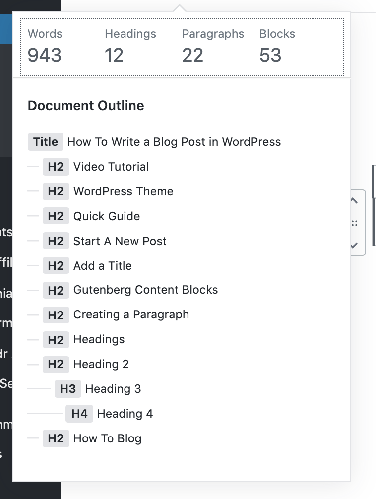 Using the i that is circled in the top navigation of your WordPress Dashboard, you can get the details on your blog that include word count, total paragraphs, headings, and blocks.