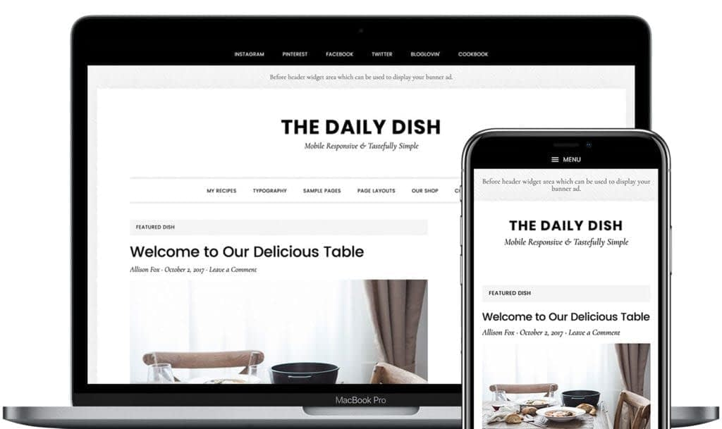 Daily Dish is a brand new theme for Genesis that is designed to present your content like it's the most appetizing dish at your favorite 4-star restaurant. The main course of your site is, of course, your words, your images, your videos, and more. Daily Dish orients visitors to focus on what's most important.