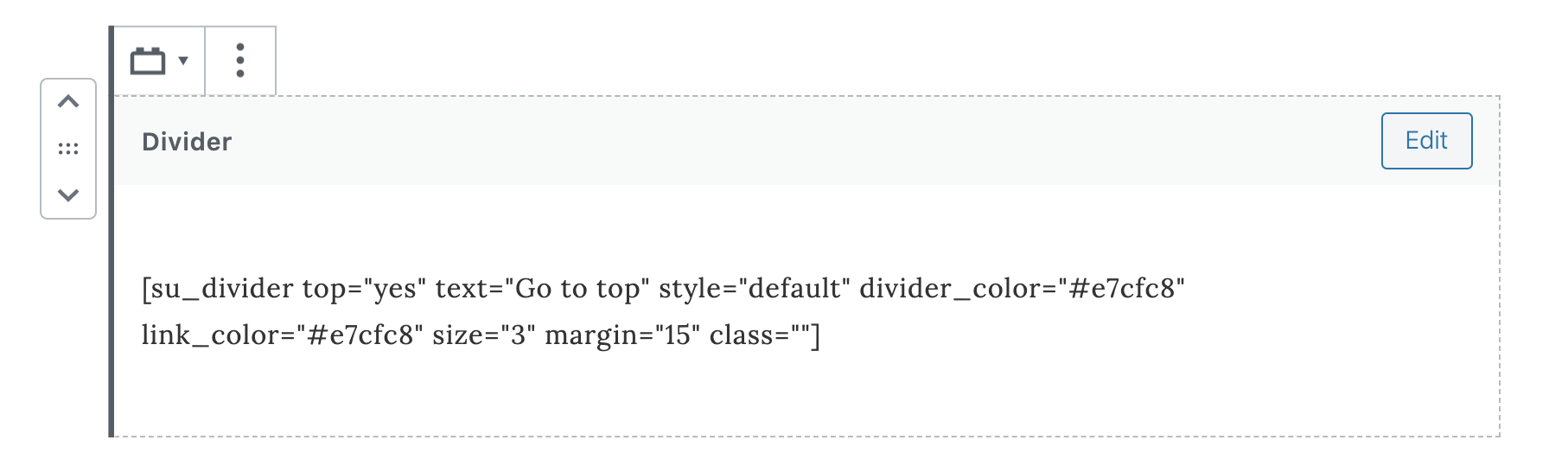 """The separator is a simple and short link that divides blocks. You can find it in the layout elements. If you like another plugin or style, you can add that and Gutenberg will offer it inside the content blocks. For example, a divider with back to top can be added with the Shortcodes Ultimate Plugin. Simply add the shortcode to an HTML content block or paragraph block, and then save as a reusable block called """"Divider""""."""