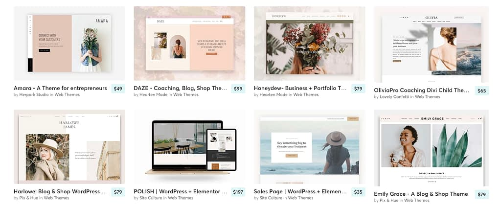 Creative Market has over 3,200 WordPress templates available from $2 to $349. Categories include: