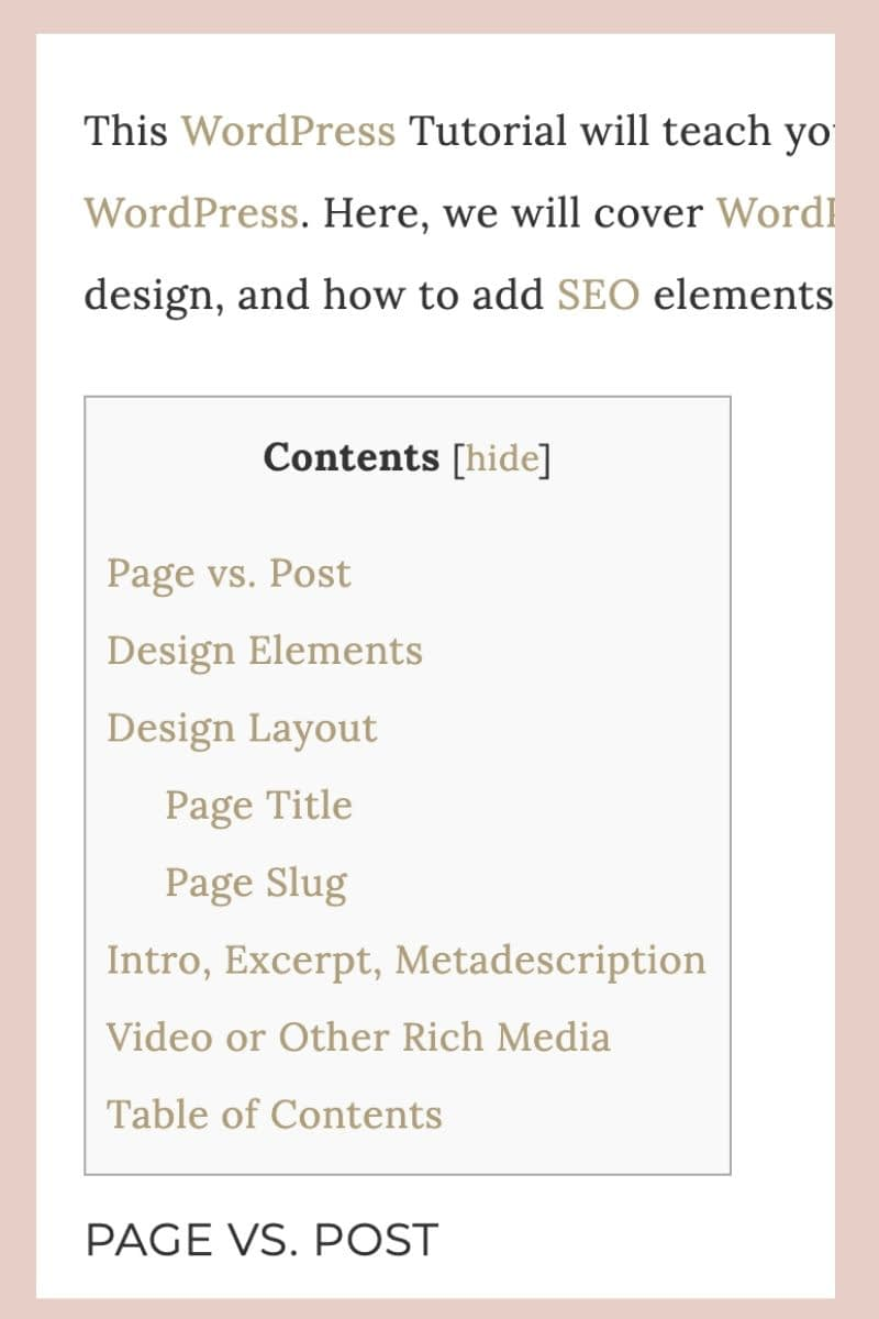 The table of contents allows the visitor to choose an item from the table of contents menu and directly be taken to that section of the page.