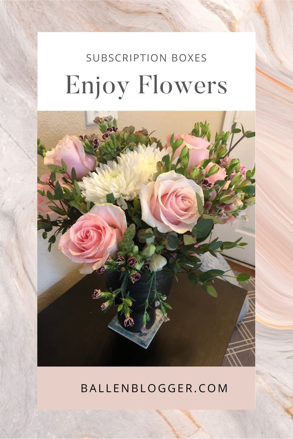 I already have enough vases, so I order the bouquets only. They are gorgeous, last a long time, and are the most affordable based on comparative flower subscription services.