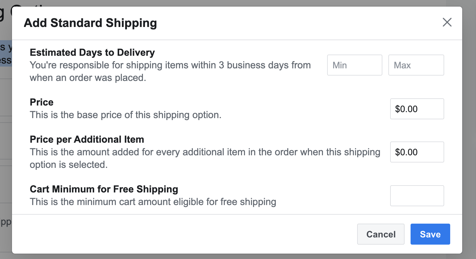 For your Facebook Shop You can choose standard shipping, expidited, and rush shopping as options.  You are expected to shop products within 3 days of receiving the order.