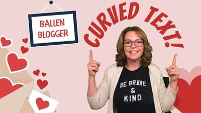 Lori ballen is pointing up to Curved Text created in Canva