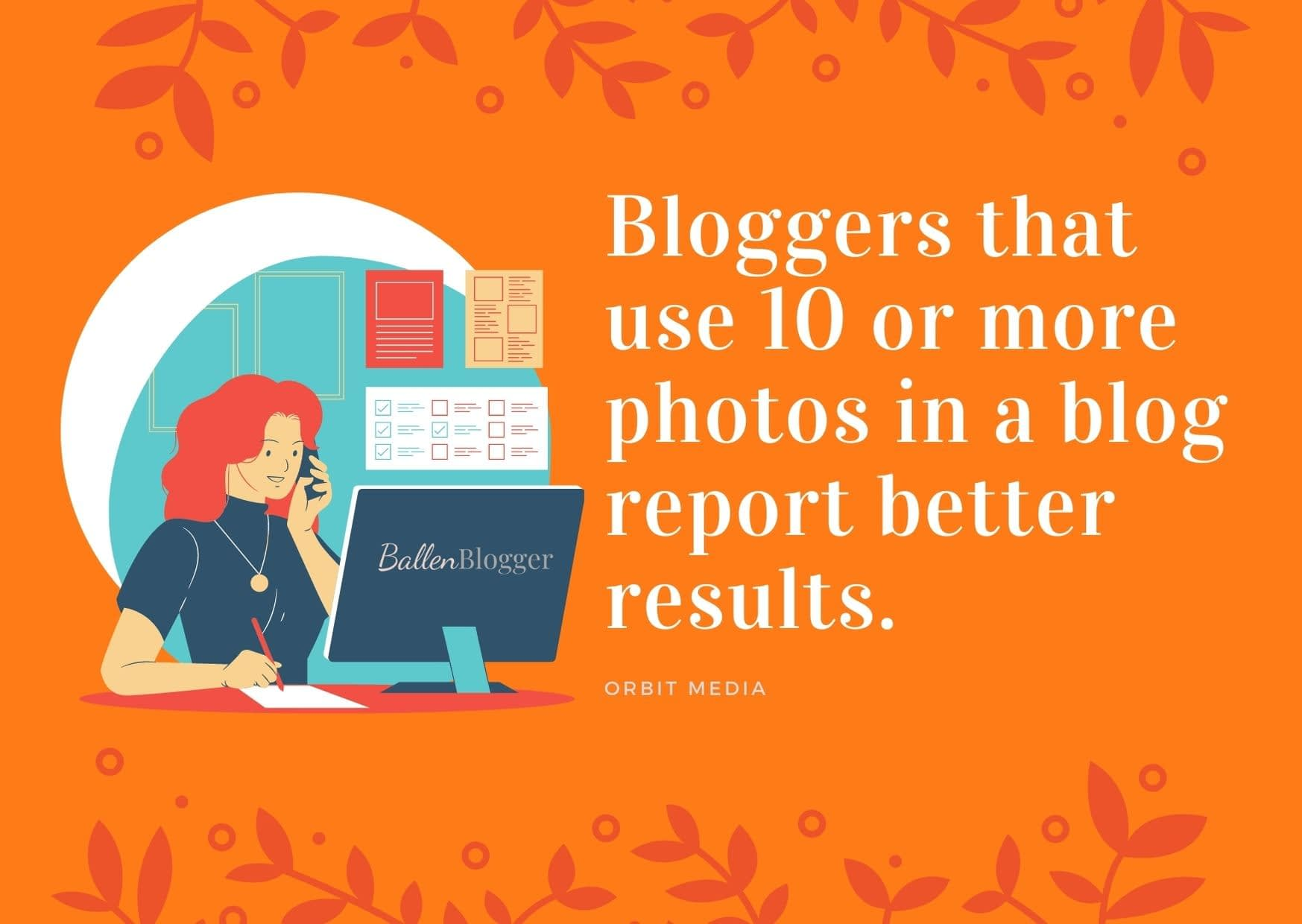 Bloggers who add 10 or more photos to a blog post generate more results.