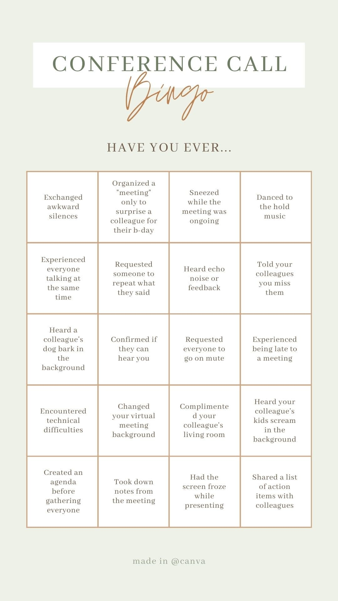Building your own team bingo card – filled with bits of trivia from everyone on the team – and then filling it out throughout the workweek can be a lot of fun!