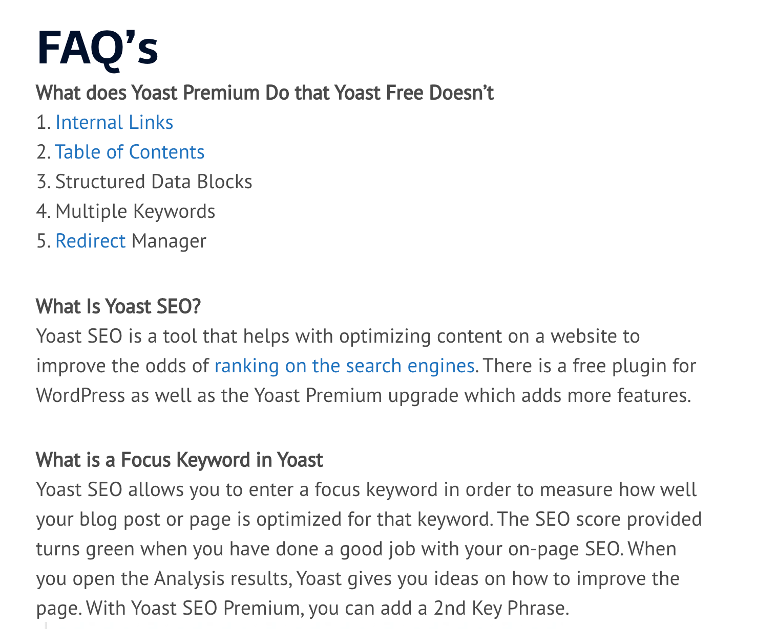 Sample of a FAQ section with the YOAST plugin