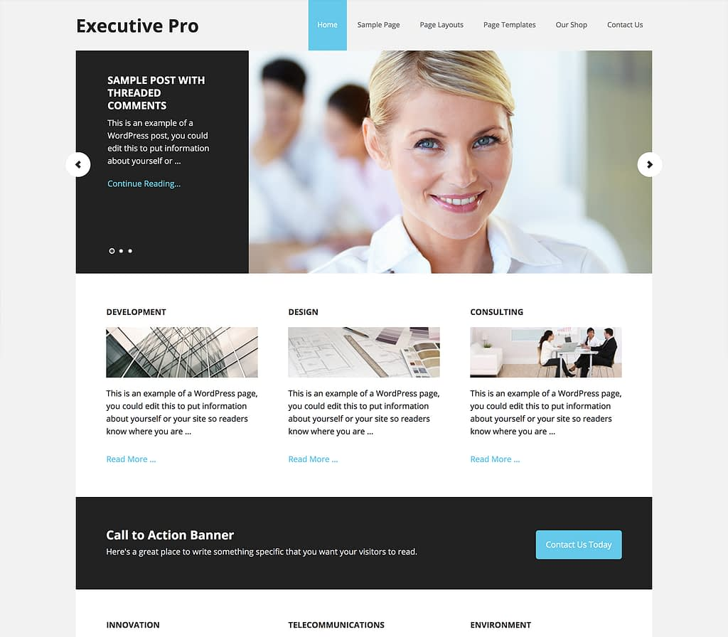 Executive is designed with the understanding that your most important projects need to be front and center, strategically and expertly displayed. This elegant layout offers your clients and customers a premium experience to share your objectives and carry out your vision with authority. Show them you mean business.