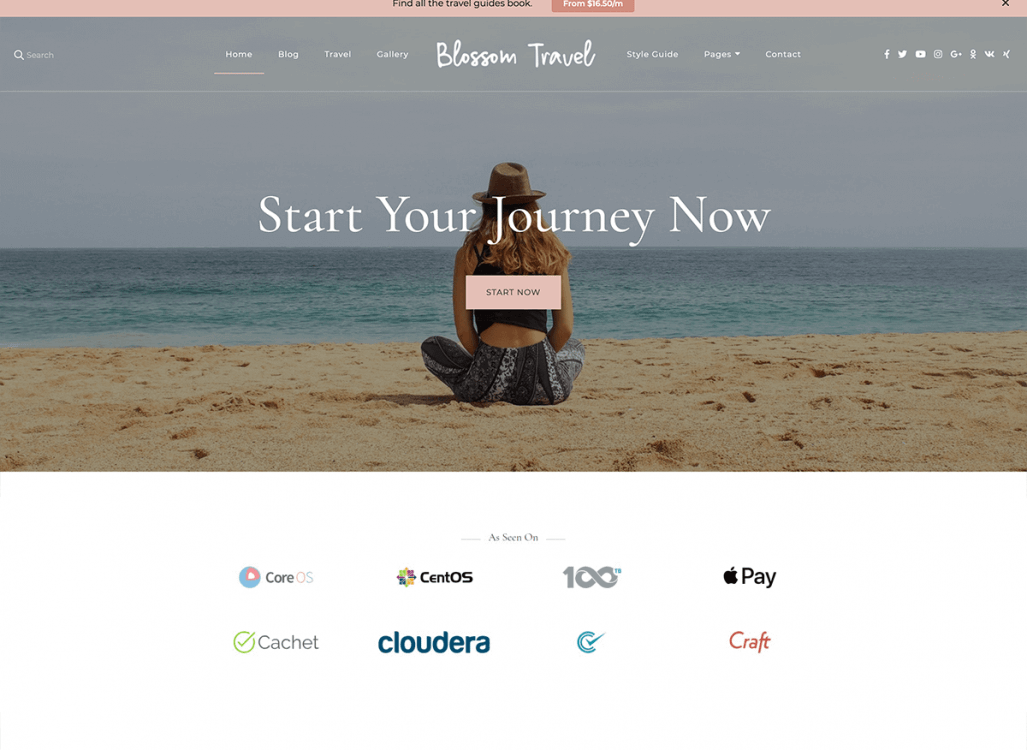 When you are ready to build your travel blog, and favor a feminine theme, you'll love Blossom Travel Pro. It's elegant, beautiful, and clean.