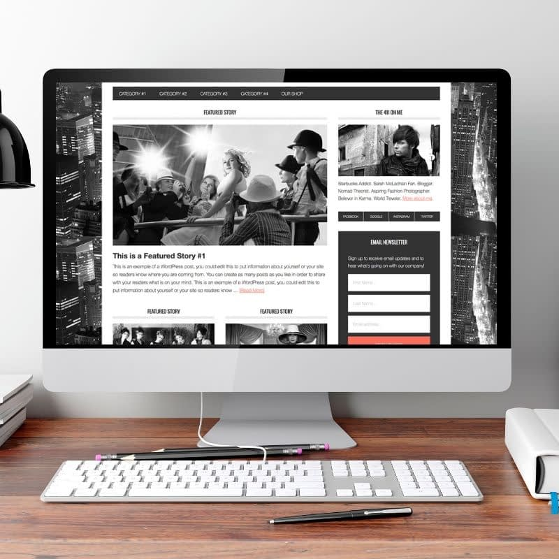 The Metro WordPress Theme is a stylish theme in red and black with black and white photos