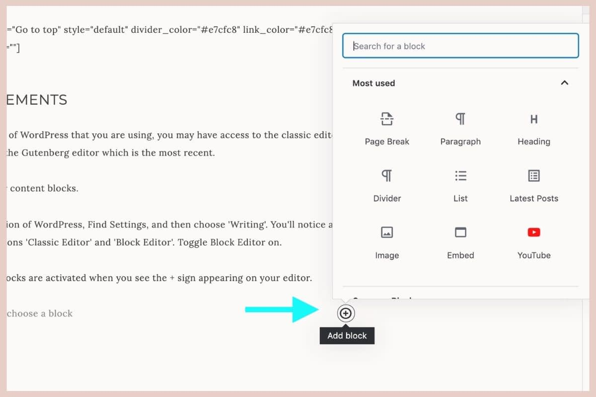 If you have the latest version of WordPress, Find Settings, and then choose 'Writing'. You'll notice an area that displays the options 'Classic Editor' and 'Block Editor'. Toggle Block Editor on.