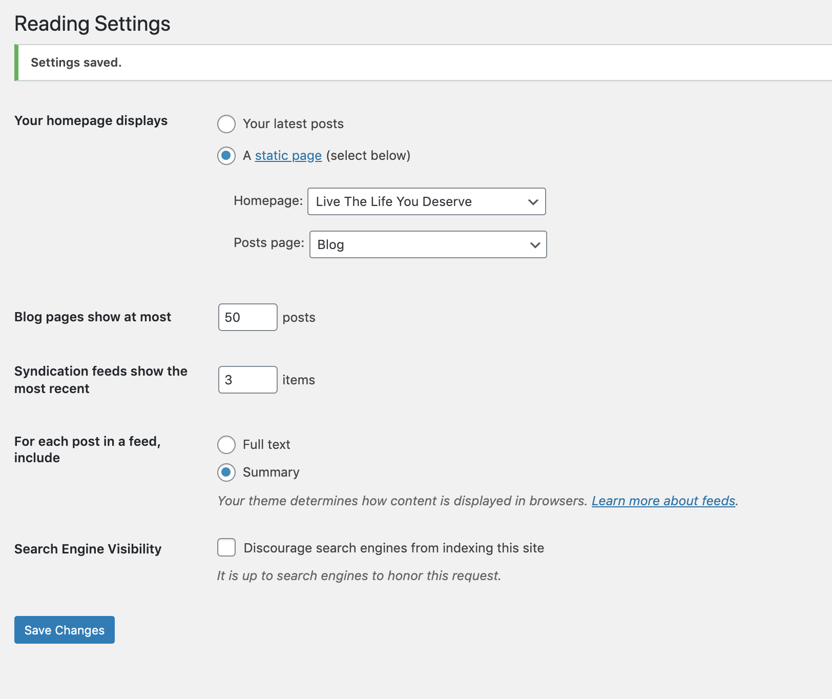 In WordPress Settings, the Reading settings are where you dictate how many blog posts show on a page