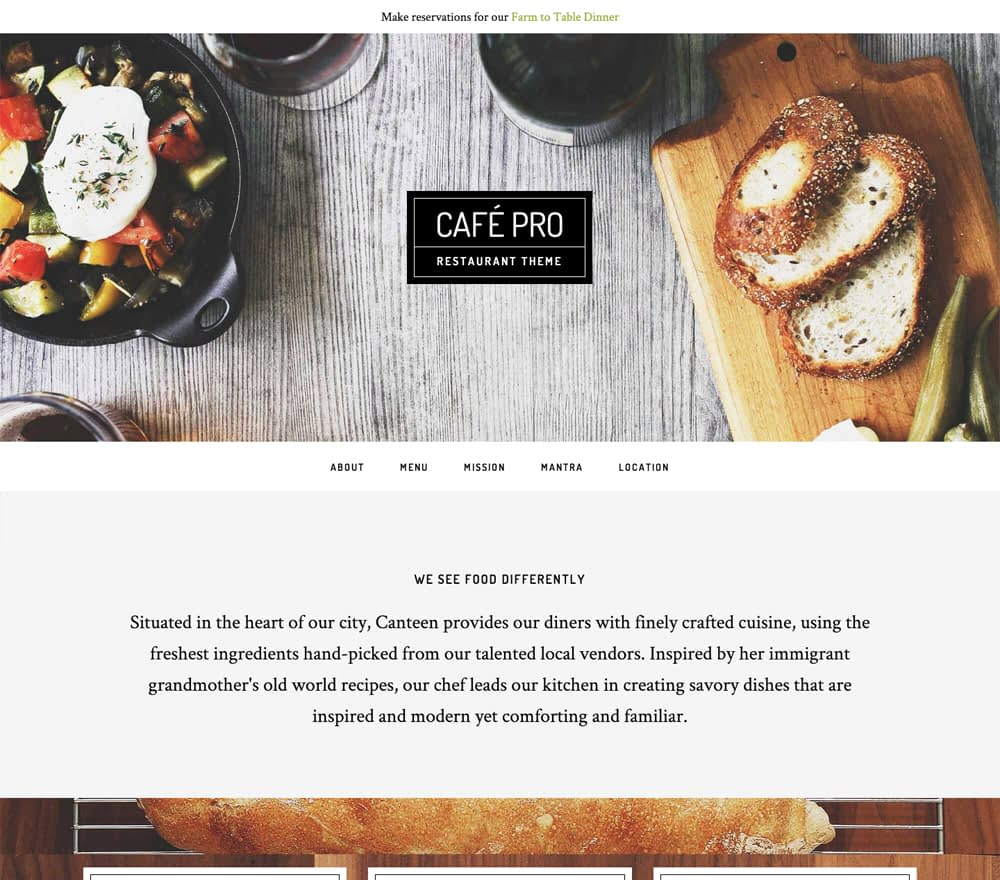 """Cafe Pro combines elements of our two most popular child themes """"Parallax and Foodie"""" to create the quintessential design solution for not just restaurants, but for any brick and mortar business looking to create a captivating presence online."""