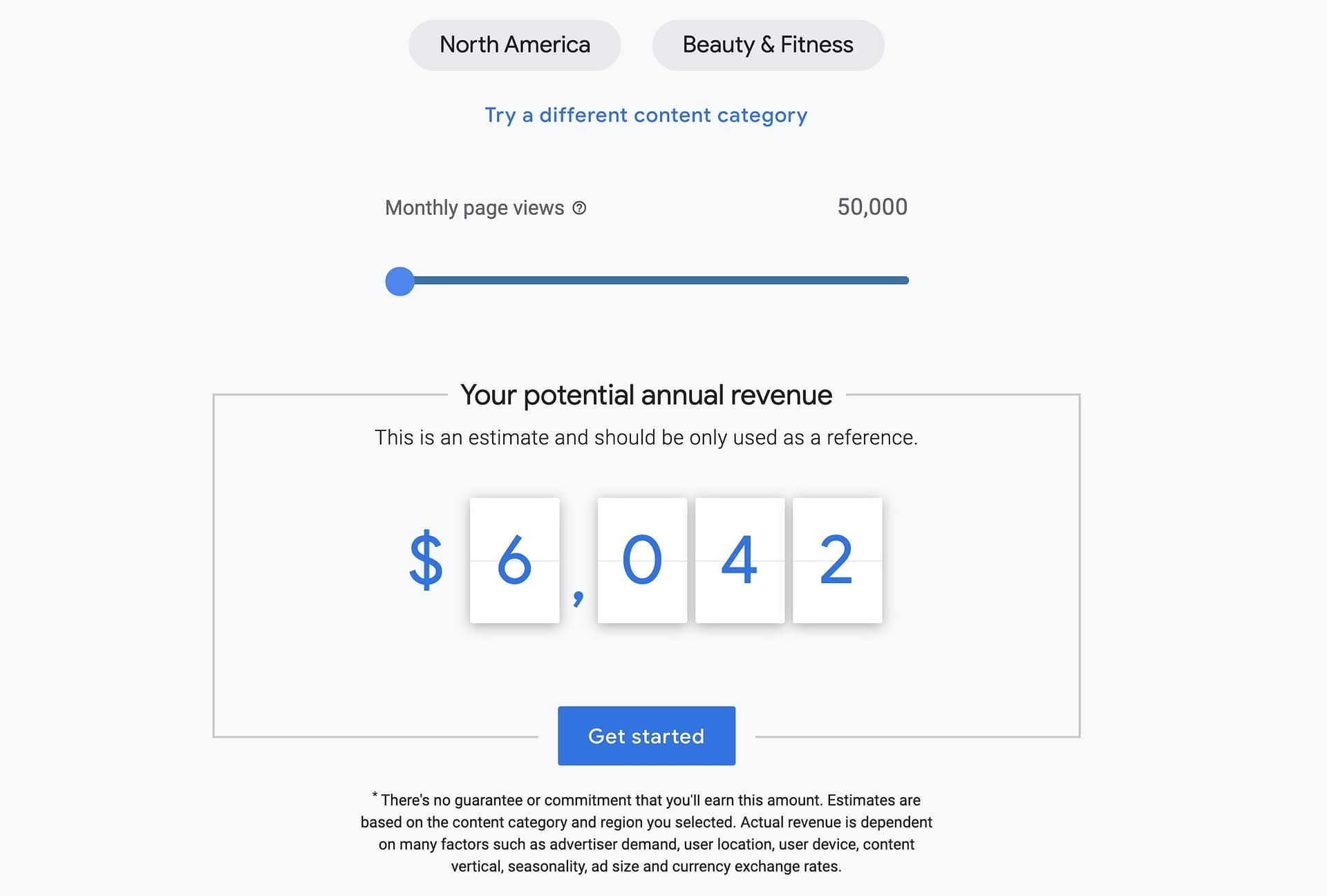 For the sake of this blog, I looked up how much a website in the beauty and fitness niche would make if they had 50,000-page visits per month.