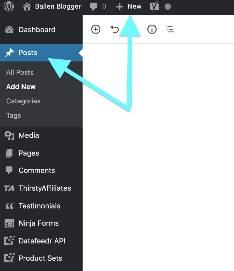 To start a new post in WordPress, you can find the +New in the top of your WordPress dashboard navigation or on the left column by clicking posts and then Add New.