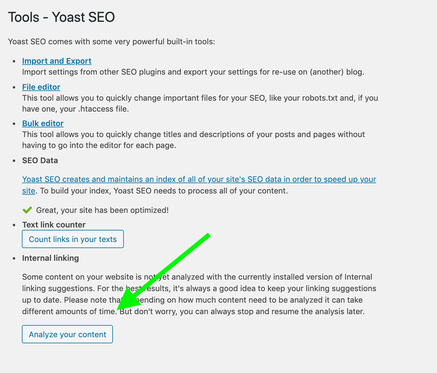 When you first upgrade to Yoast SEO Premium, you'll see a notification calling you to allow Yoast to analyze your content.